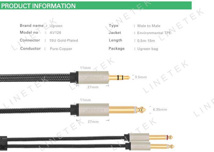 3.5MM to DUAL 6.5MM Audio Cable