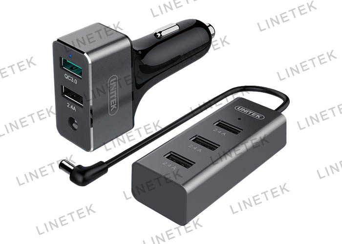 60W 5-Port USB Car Charger (1-Port QC3.0 + 4-Port 2.4A)
