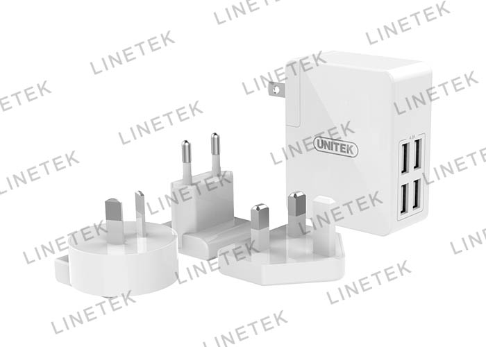 24W 4-Port USB Universal Travel Wall Charger